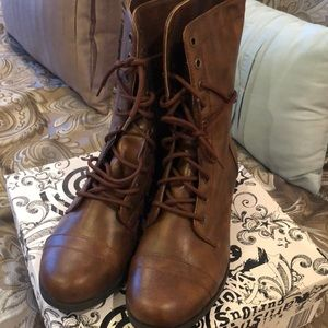 Cognac brown lace up boots